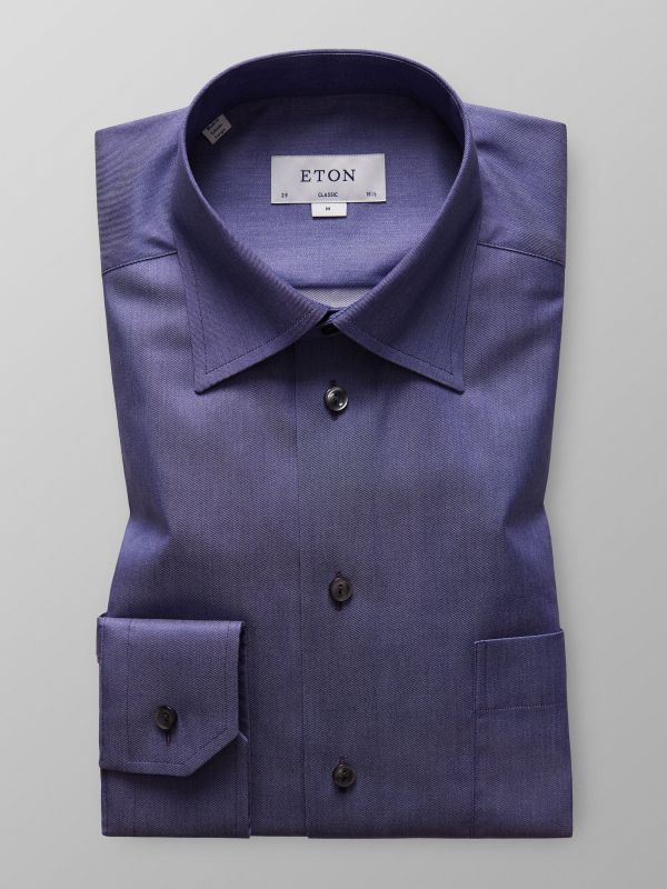 Navy Denim Effect Twill Shirt