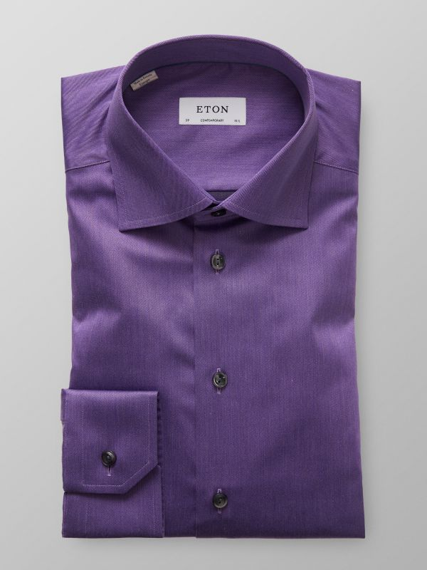 Purple Denim Effect Twill Shirt