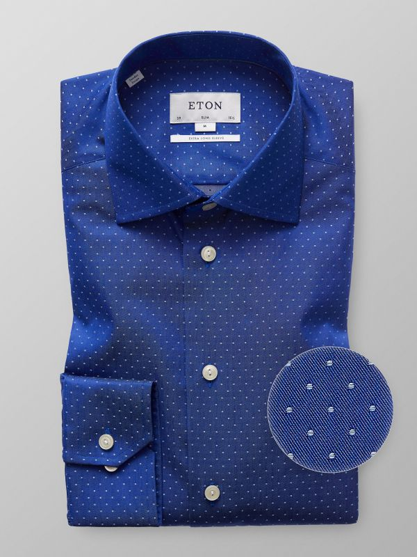 Blue Woven Dots Shirt - Extra Long Sleeve