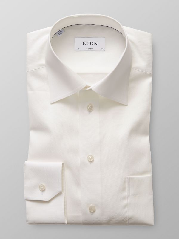 Off White Herringbone Twill Shirt