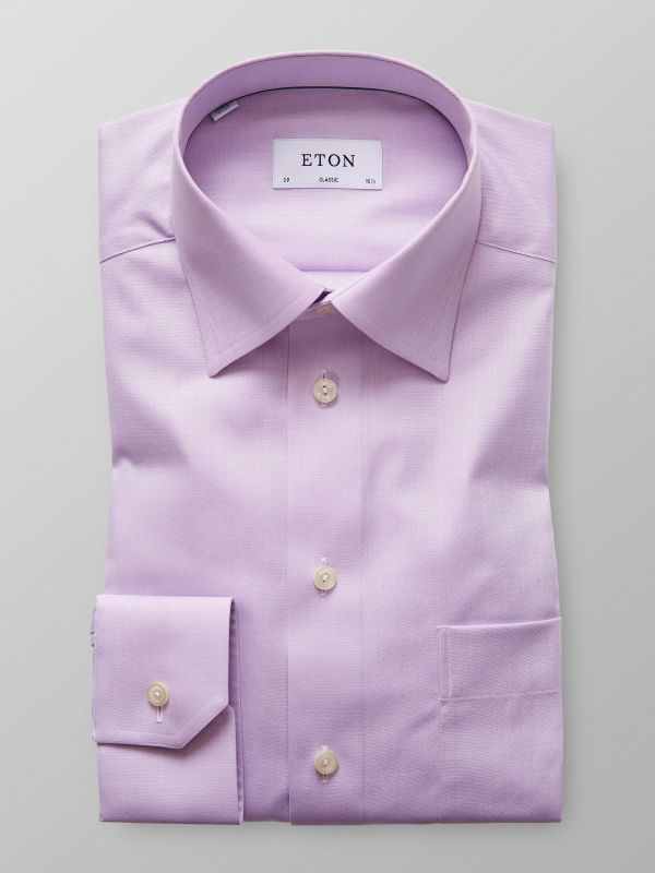 Purple Herringbone Twill Shirt
