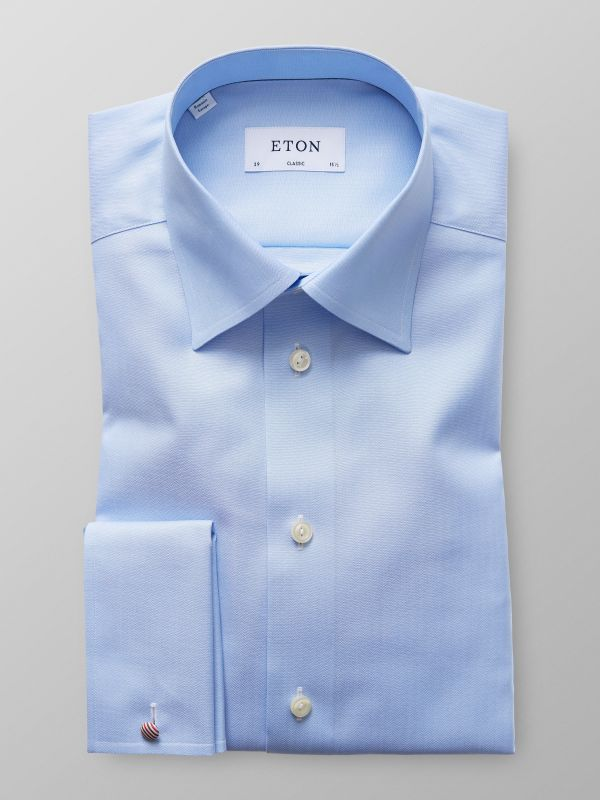Light Blue Herringbone French Cuff Shirt