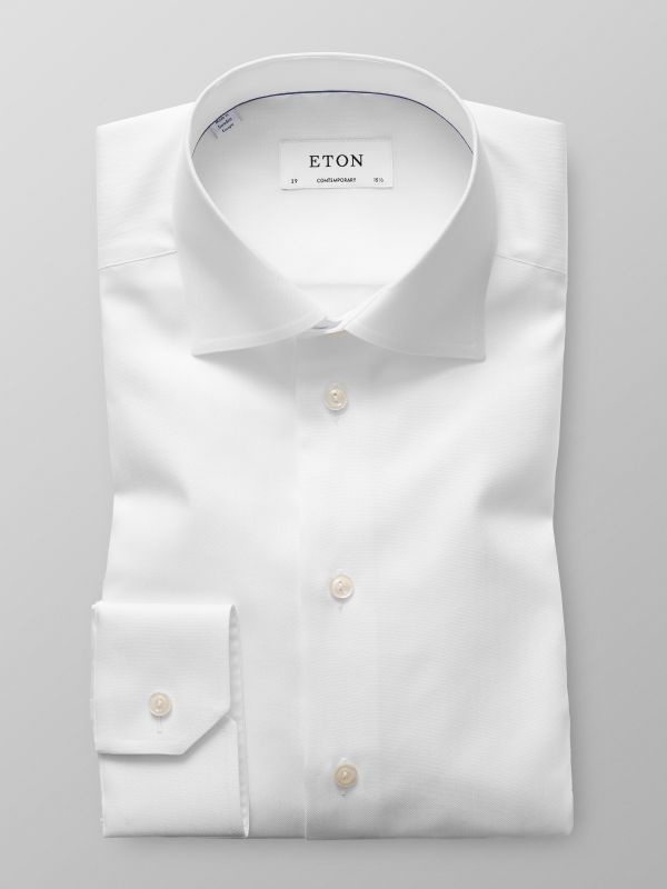 White Herringbone Twill Shirt