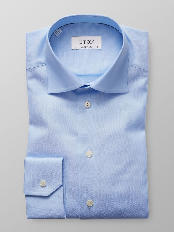 Light Blue Herringbone Twill Shirt