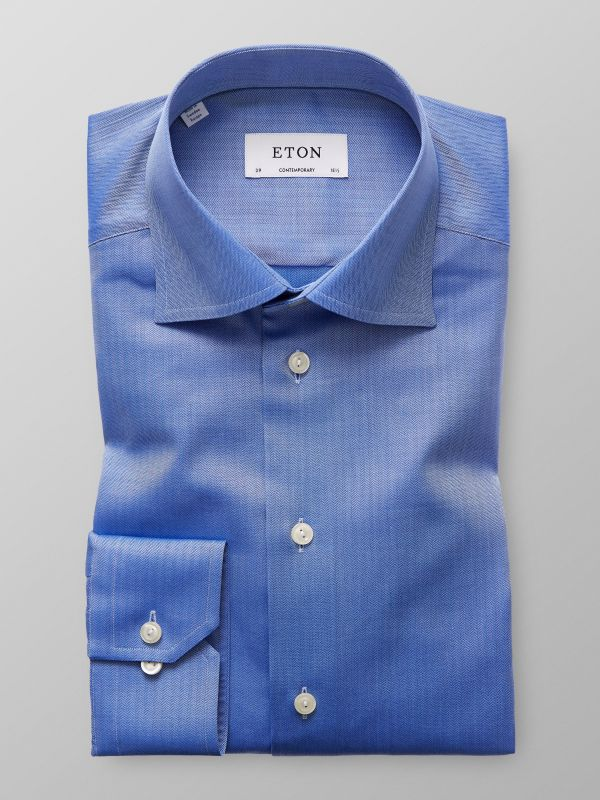 Blue Herringbone Twill Shirt