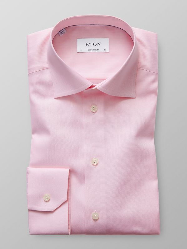 Pink Herringbone Twill Shirt