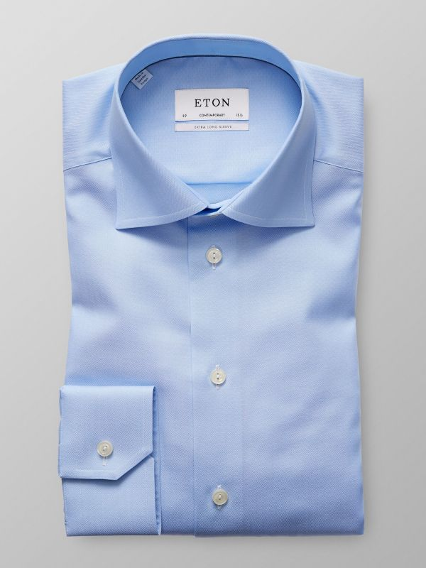 Light Blue Herringbone Twill Shirt - Extra Long Sleeve