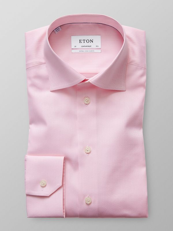 Pink Herringbone Twill Shirt - Extra Long Sleeve