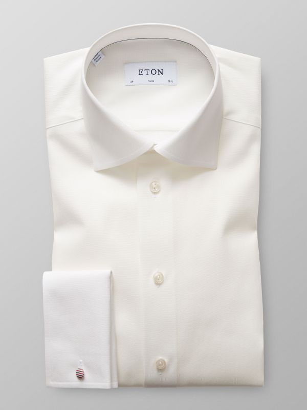 Off White Herringbone French Cuff Shirt
