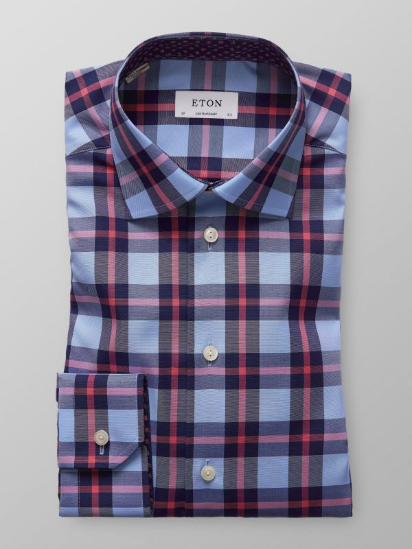 Bold Checks Twill Shirt With Contrast Trim