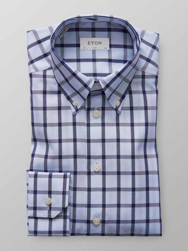 Light Blue Bold Check Twill Shirt