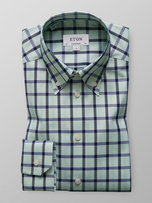 Green & Blue Bold Check Twill Shirt