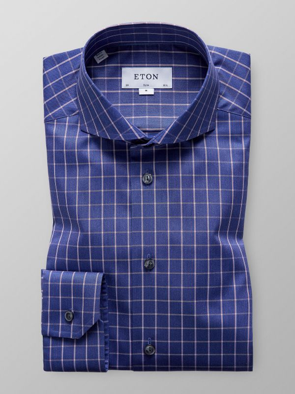 Navy Bold Checks Twill Shirt