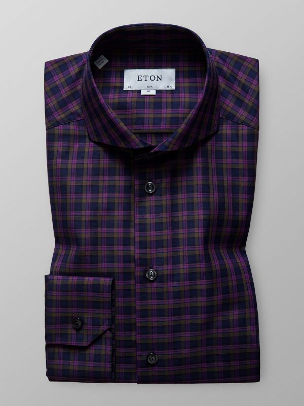 Purple Bold Check Shirt