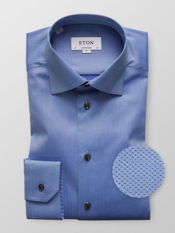 Blue Micro Dotted Shirt