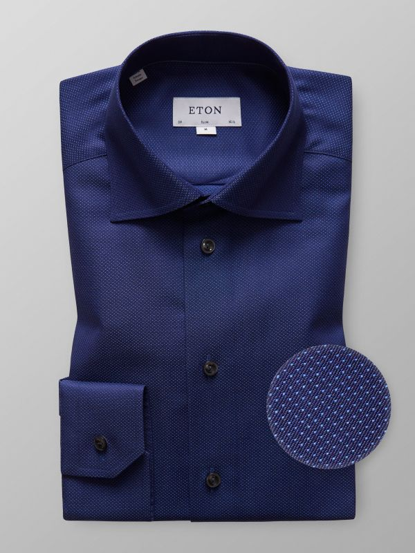 Navy Micro Pattern Twill Shirt