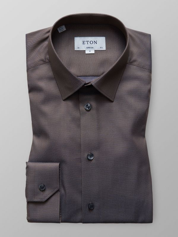Brown Micro Pattern Twill Shirt