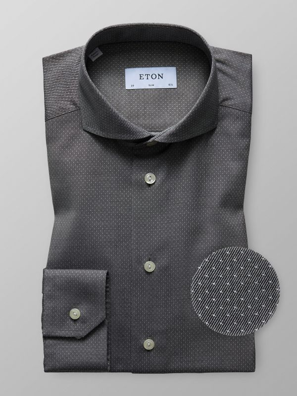 Grey Pin-Dots Twill Shirt