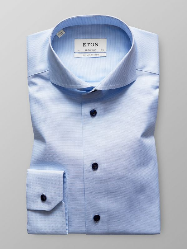 Light Blue Textured Twill Shirt - Extra Long Sleeve