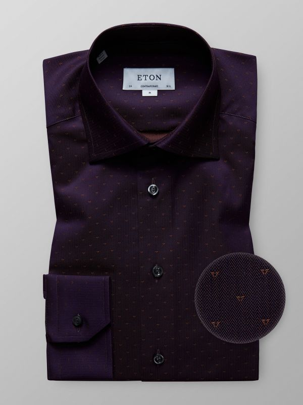 Purple Twill Shirt with Woven Effects