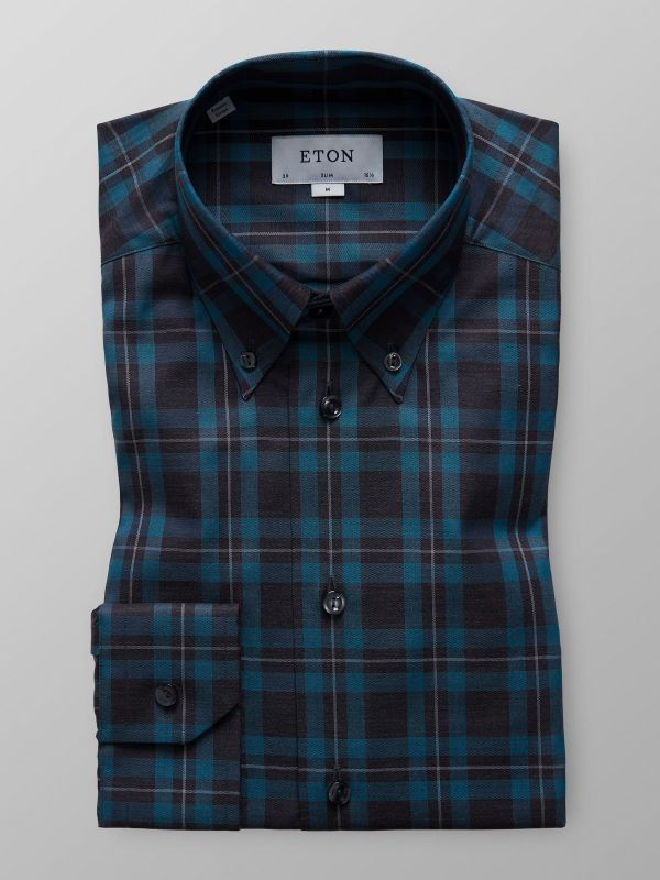 Blue Bold Check Button-Down Shirt