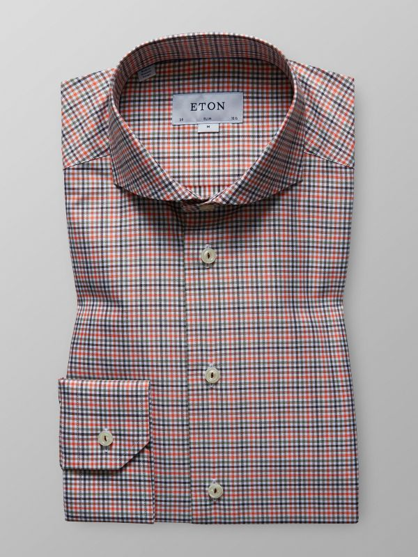 Orange Fine Check Shirt