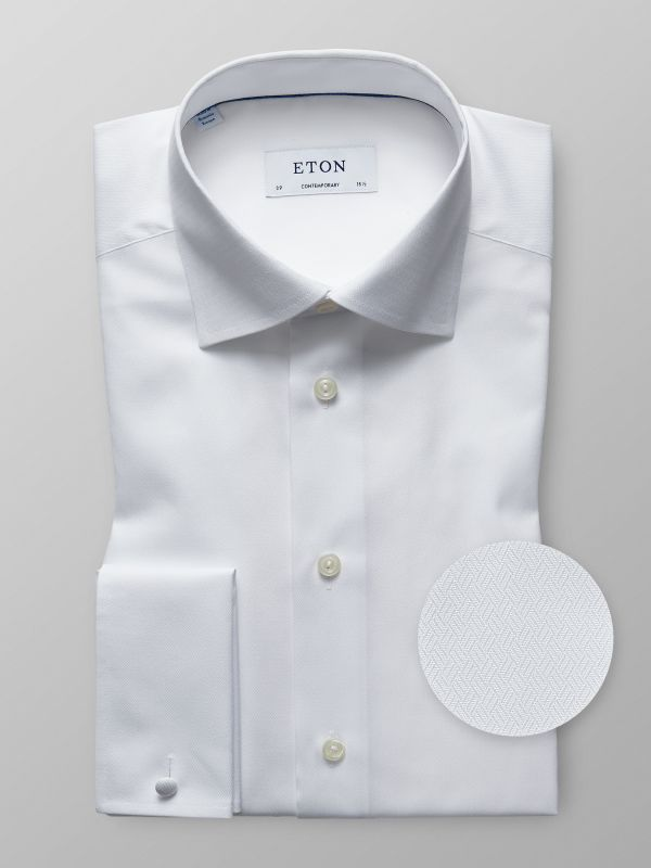 White Herringbone French Cuff Shirt