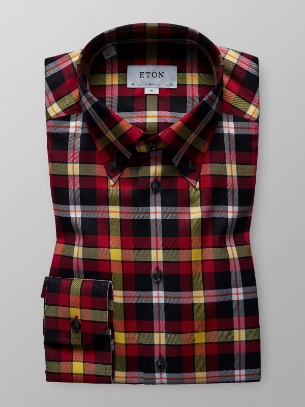 Red Bold Check Button-Down Shirt