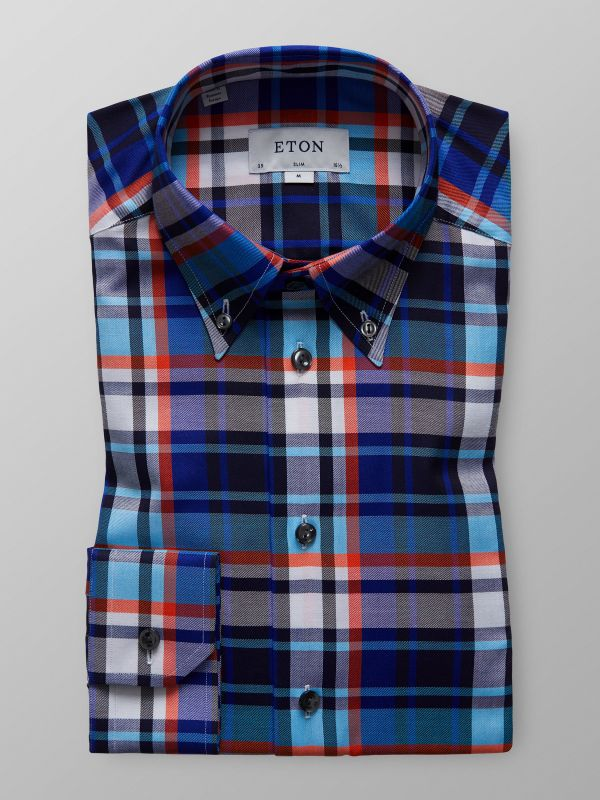 Storrutig button down-skjorta