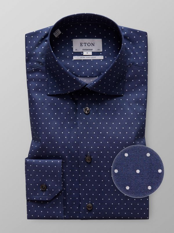 Navy Dotted Twill Shirt - Extra Long Sleeve