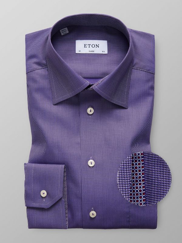 Purple Twill Shirt With Contrast Trim