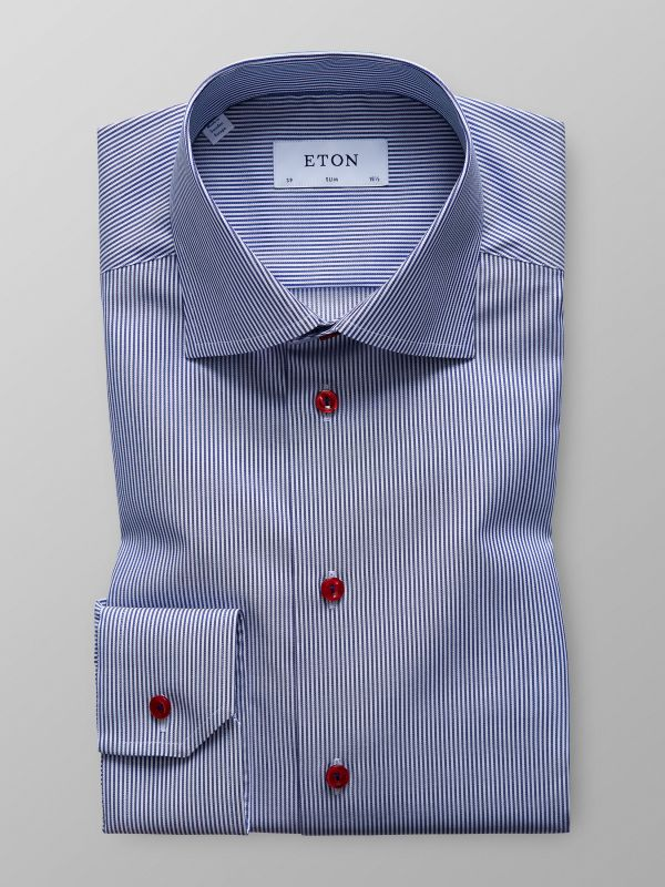 Striped Twill Shirt With Trim Details