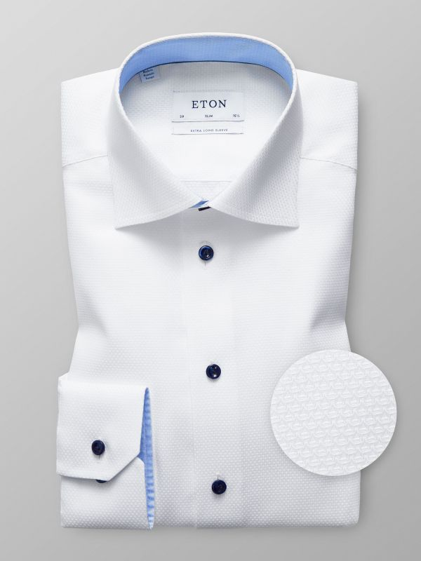 White Twill Shirt with Navy Buttons