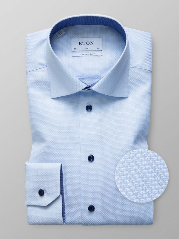 Sky Blue Twill Shirt with Navy Buttons
