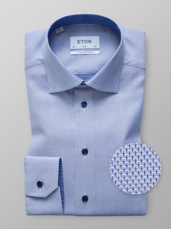 Blue Twill Shirt with Navy Buttons