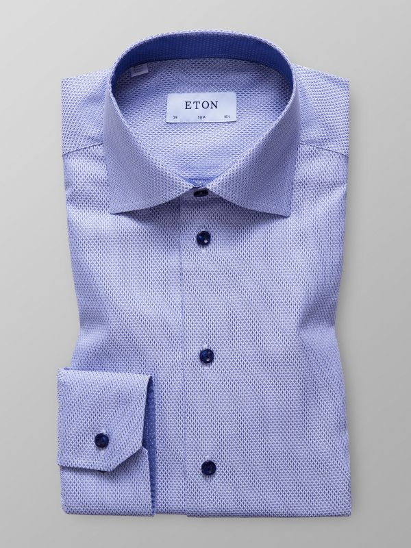Blue dobby Shirt with trim Details