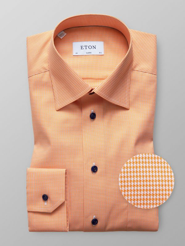 Orange Houndstooth Twill Shirt