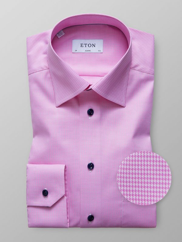 Pink Houndstooth Twill Shirt
