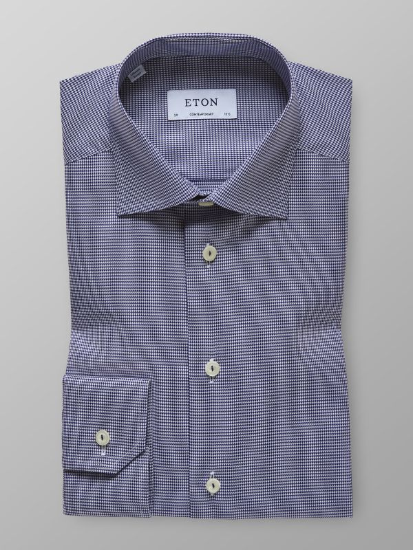 Navy Houndstooth Twill Shirt