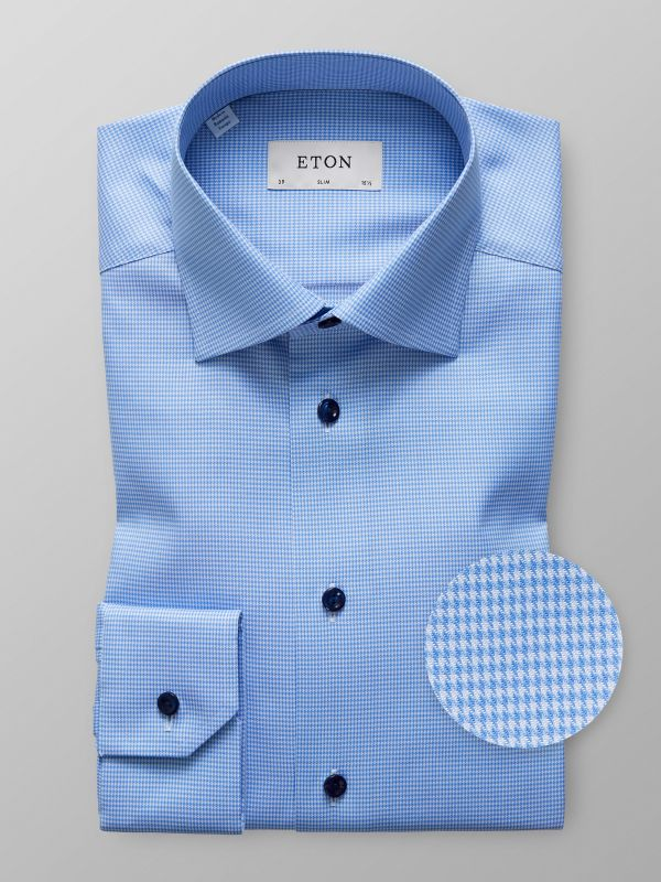 Blue Houndstooth Twill Shirt