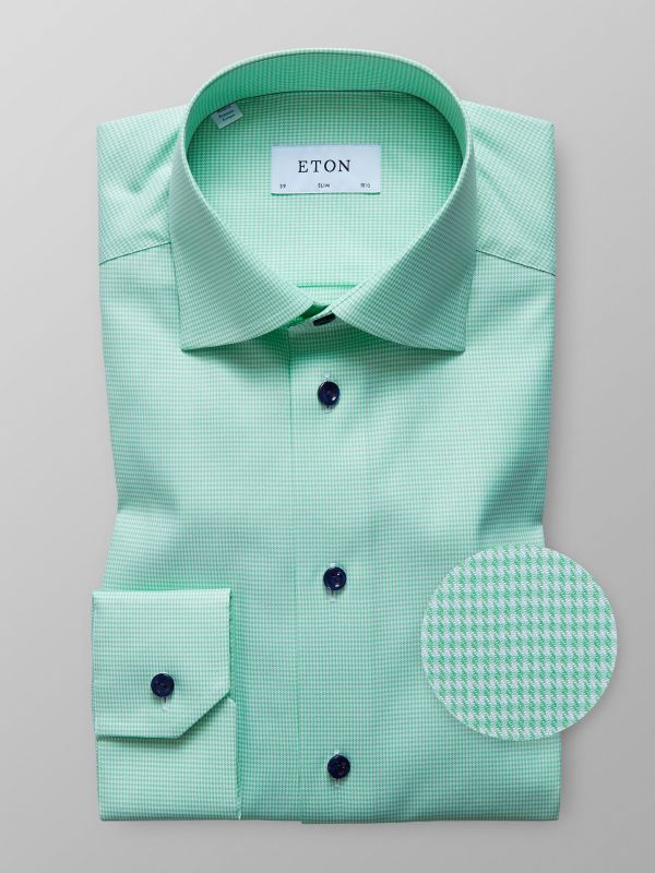 Green Houndstooth Twill Shirt