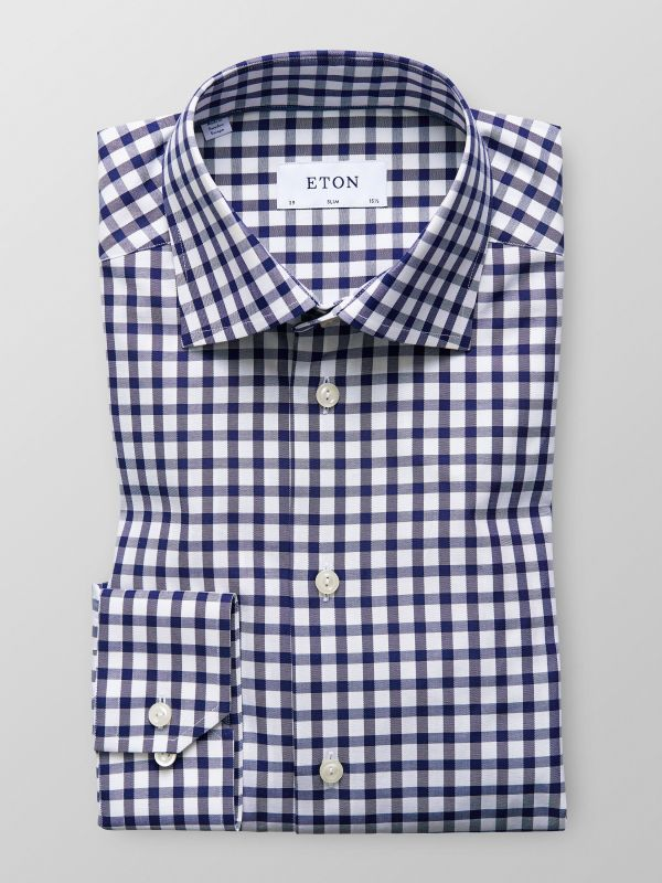 Navy Gingham Twill Shirt