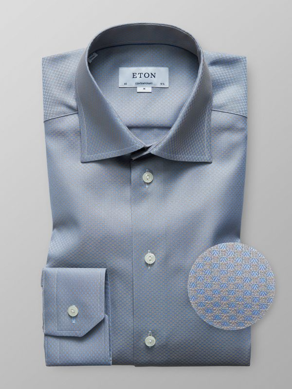 Blue & Yellow Woven Effect Shirt