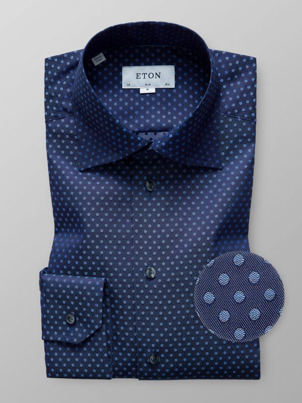 Navy Polka Dots Twill Shirt