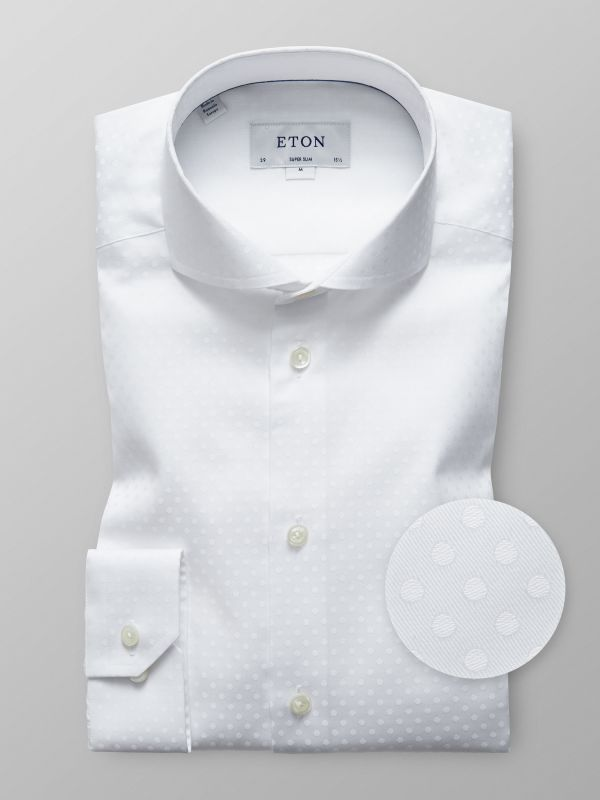 White Polka Dots Twill Shirt