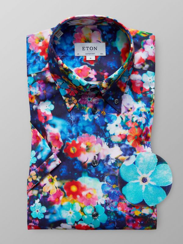 Multicolour Short Sleeve Floral Print Shirt