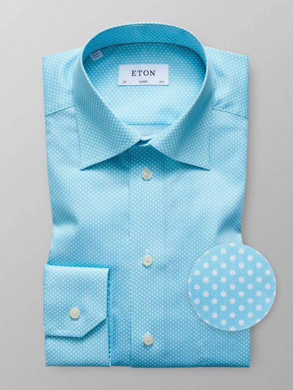 Blue Twill Polka Dot Shirt
