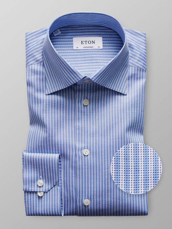 Blue & White Striped Twill Shirt