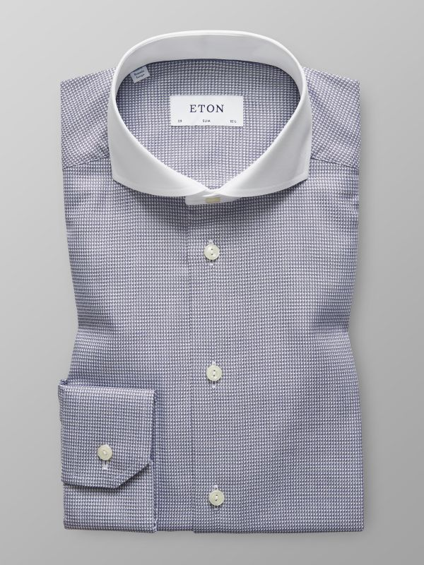 Navy Micro Weave Shirt - White Collar