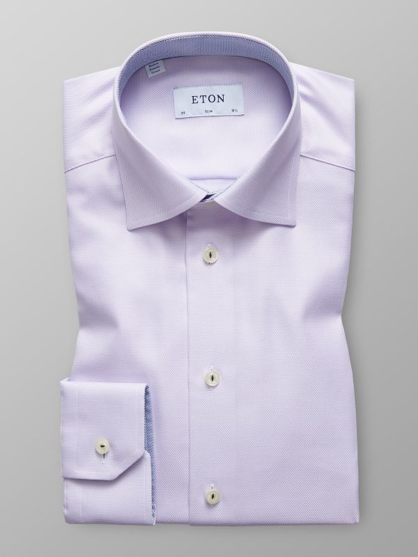 Pink Micro Weave Shirt - Navy Details